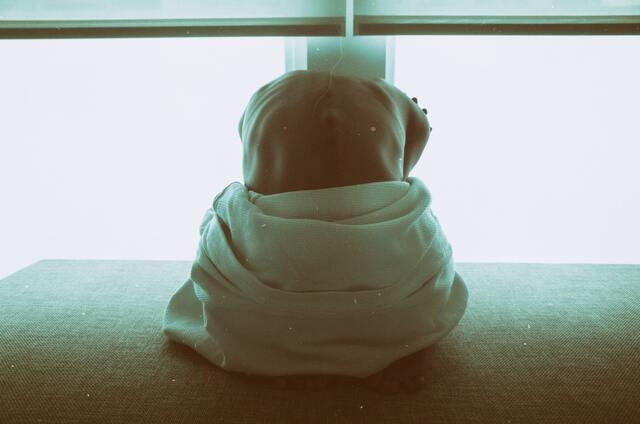 タオルにくるまり蹲る女性
